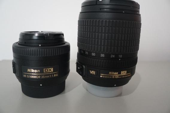 Kit 2 Lentes Nikon Af-s Dx 35mm F/1.8g 18-105mm F/3.5-5.6