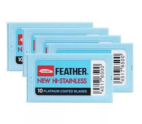 Kit 6 Feather Com 10 Lâminas Barbear Cada