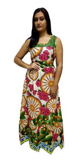 Vestido Longo Regata Estampado Indiano Com Renda Moda Boho