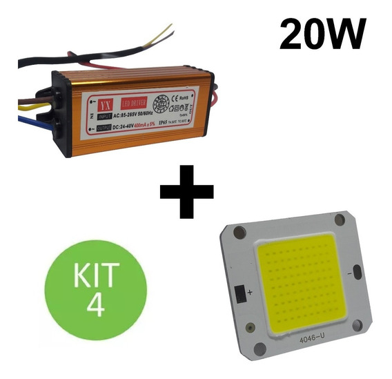 Chip + Reator Driver Reposição Refletor Led 20w Bivolt Kit 4