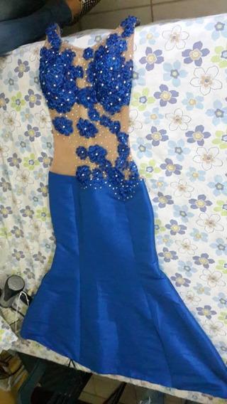 Espectacular Vestido Para Fiesta Color Azul Con Detalles