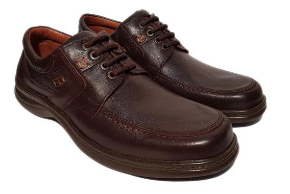 Zapatos Fc 6042 Confort Cuero Goma Febo Marrón Negro