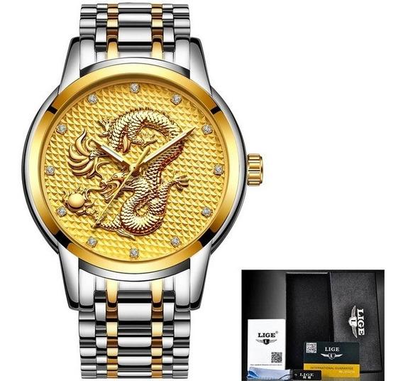 Relógio Masculino Lige Dragão Luxo