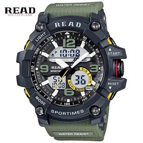 Relógio Digital Analógico Estilo Militar Shock Calendário