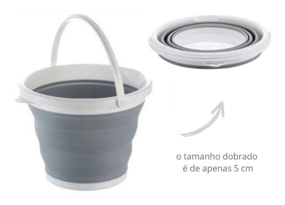Balde Dobrável 5 L Cinza Plástico Retrátil Desmontável Mop