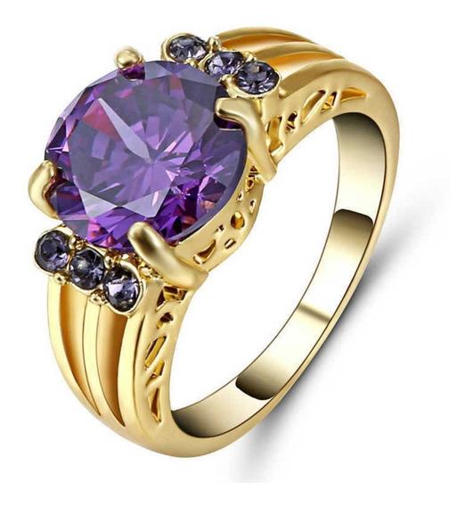 Aro 20 Anel Feminino Grand Pedra Cristal Ametista Roxa 642 P