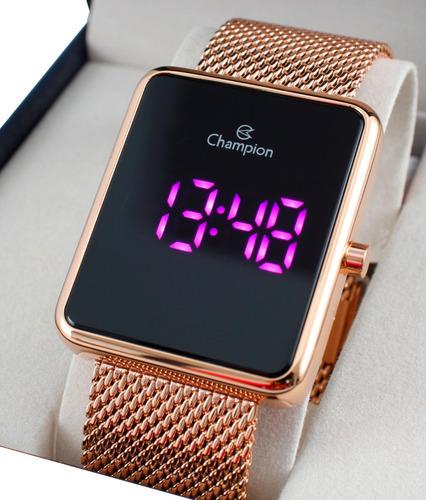 Relógio Champion Feminino Quadrado Rose Gold Ch40080h