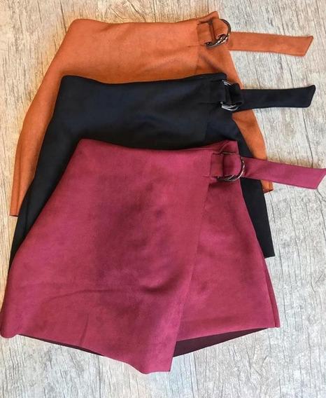 Short Saia Suede Rosa Escuro Elegante Moda Blogueira Casual