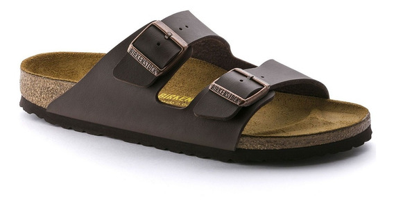 Birkenstock Sandália Arizona Couro Regular Marrom + Barato