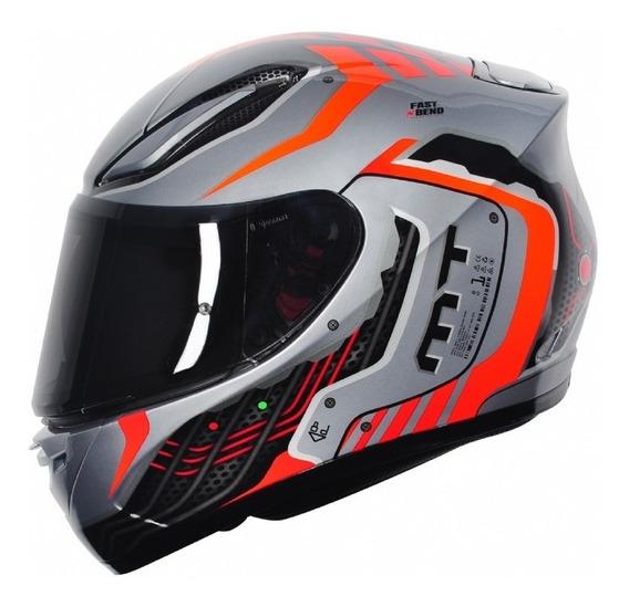 Capacete Mt Revenge Cyborg Silver Orange Motoqueiro Moto