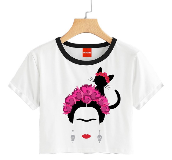 Blusa Frida Kahlo Gato Flores Colores Playera Crop #722
