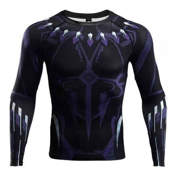 Camiseta Black Phanter Super Heroes Playera Ajustable Gym