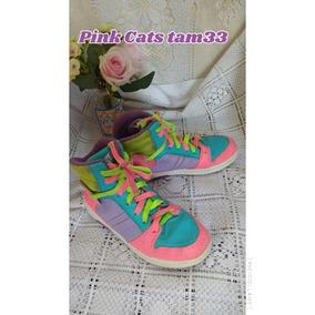 Tênis Colorido Menina Pink Cats Tamanho 33