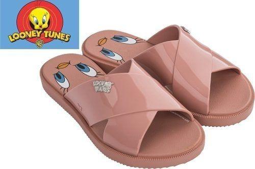 Sandália Zaxy Coleção Warner Slide Tom Jerry Piu Piu Frajola