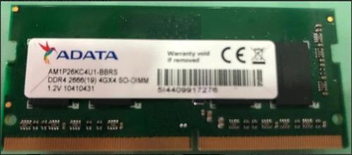 Imagem 1 de 1 de Memoria Adata 4 Gb Ddr4 Pc4 2666 Am1p26kc4u1-bacs Notebook