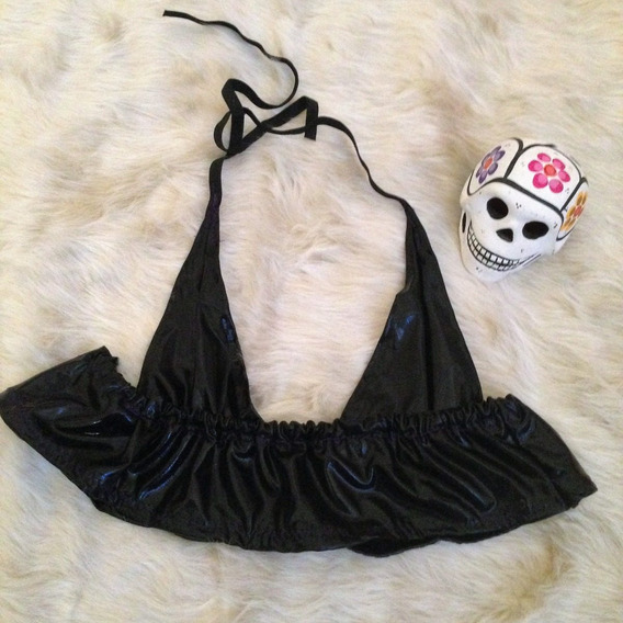 Crop Top Vinilico Negro Para Salir Sexy Alternative Gothic