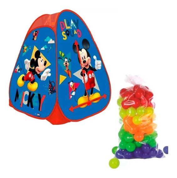 Barraca Mickey Cabana Toca Infantil Com 50 Bolinhas