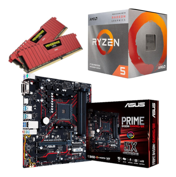 Kit Amd Ryzen R5 3400g Asus B450m Gaming Br Vg 16gb 2400mhz