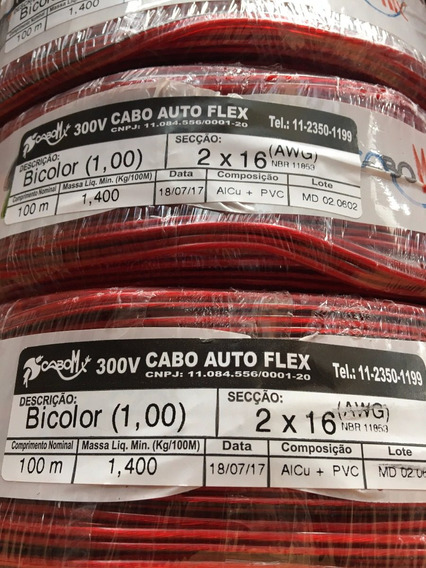 Cabo Paralelo Bicolor 2x1mm 2x16awg Cabomix