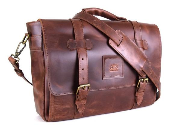 Portafolio Biker Ag Leather Para Laptop - 100% Piel Old West