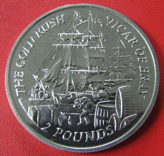 Islas Malvinas Moneda 2 Pounds 2000 Unc Barco Gold Rush