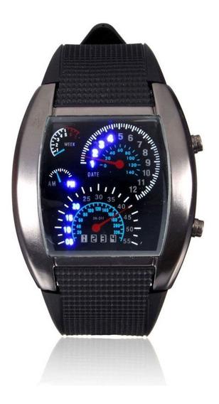 Relógio Masculino Pulso Tvg Led Matrix Azul Ilumin Digital