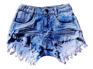 Shorts Jeans Feminino Desfiado Hot Pants Cintura Alta St014