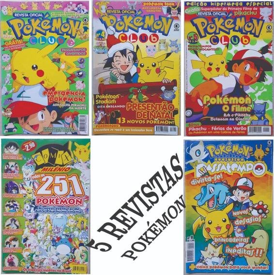 Kit 5 Revista Pokemon Club Milênio Evolution Passatempo Go