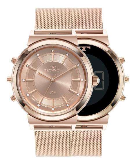 Relógio Technos Ana/dig Fem. Curvas Aço Ros Mod. 9t33ac/4j