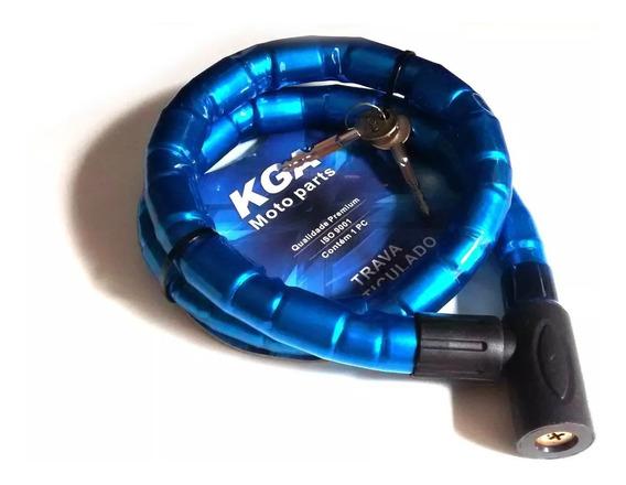 Cadeado Trava Moto Articulada 1,00m X 22mm Chave Tetra Azul