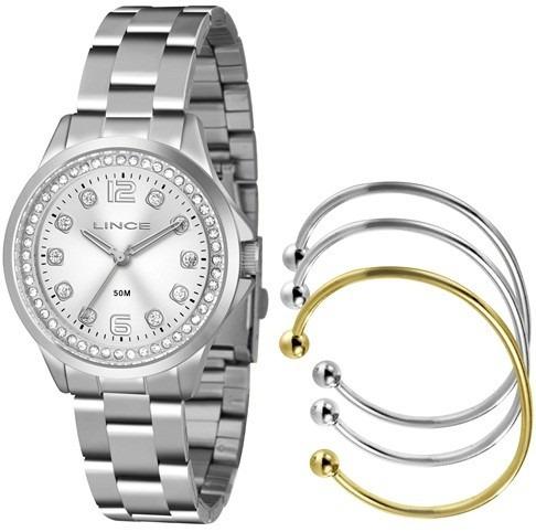 Kit Relógio Feminino Lince Prateado Mais Conj De Braceletes