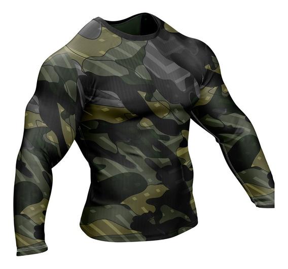 Remera Slim Fit Manga Larga Camuflada Militar Ranwey Pr344