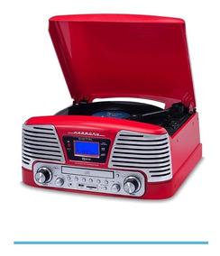 Vitrola Toca Discos Raveo Harmony Vermelho Rádio Vintage