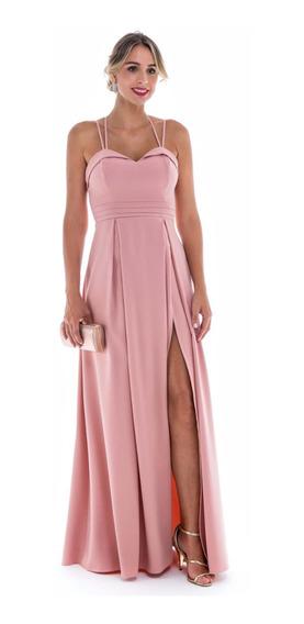 Vestido Fenda Formatura Madrinha Coral Serenity Marsala Ros