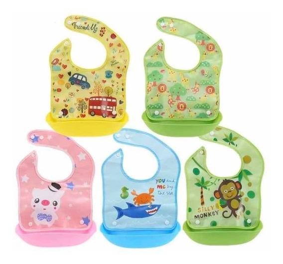 Babero Bebé Plástico Dibujo Comida Broche Botón Alimento