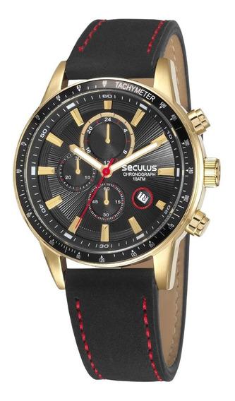 Relógio Seculus Masculino Dourado Cronógrafo 23649gpsvha1
