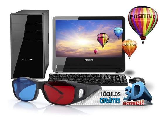 Computador 3d Positivo Intel 4gb Ram Hd 500 Win8 Monitor 18
