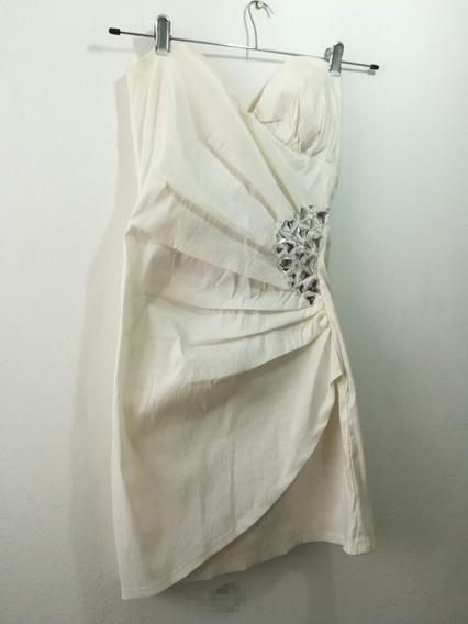 Vestido Corto Escote Corazon Blanco Talle Unico