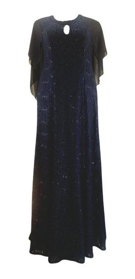 Vestido Largo Talle 6xl. Azul-rojo-negro- Fiesta- Noche