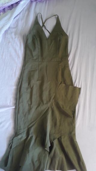 Vestido Semi Novo, Midi, Verde Militar. Veste 38/40