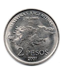 Argentina Moneda 2 Pesos Conmemorativa Islas Malvinas 2007