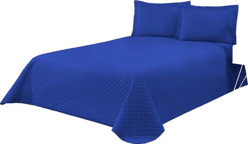 Imagem 1 de 1 de Kit Cobre Leito + Lençol King 4 Peças Colcha Romeu Azul