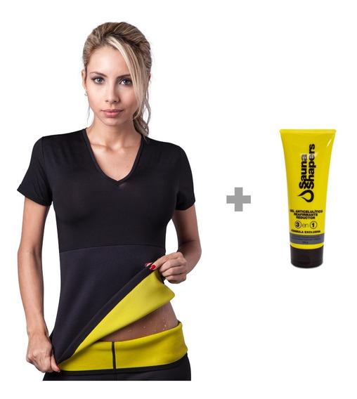 Faja Camiseta Xl Hot Shapers Brazosmujer Negro+gel Reductor