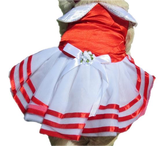 Vestido Para Cachorro/ Gato Verão Vermelho