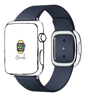Pulseira Couro Moderno Azul Profundo Apple Watch 42mm 44mm