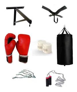 Costal Boxeo Guantes Vendas Cadena Soporte Cuerda Box Kit