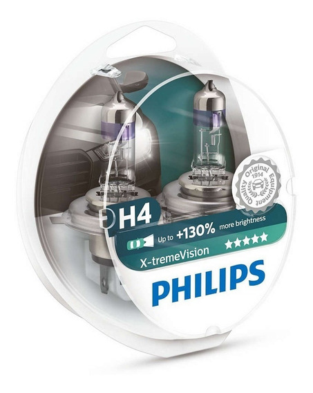 Par Lampada Philips H4 X-treme Vision Plus 130% + Luz 3500k