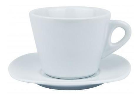 Pack 2x: Taza Y Plato De Cafe Ceramica Blanca Plato 13x13cm