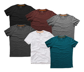 Kit 07 Camisetas Masculinas Blusa Camisa Slim Fit Lisa Basic
