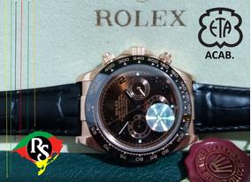 Relógio Daytona 40mm Marrom Rose Couro Preto Cerâmica Safira